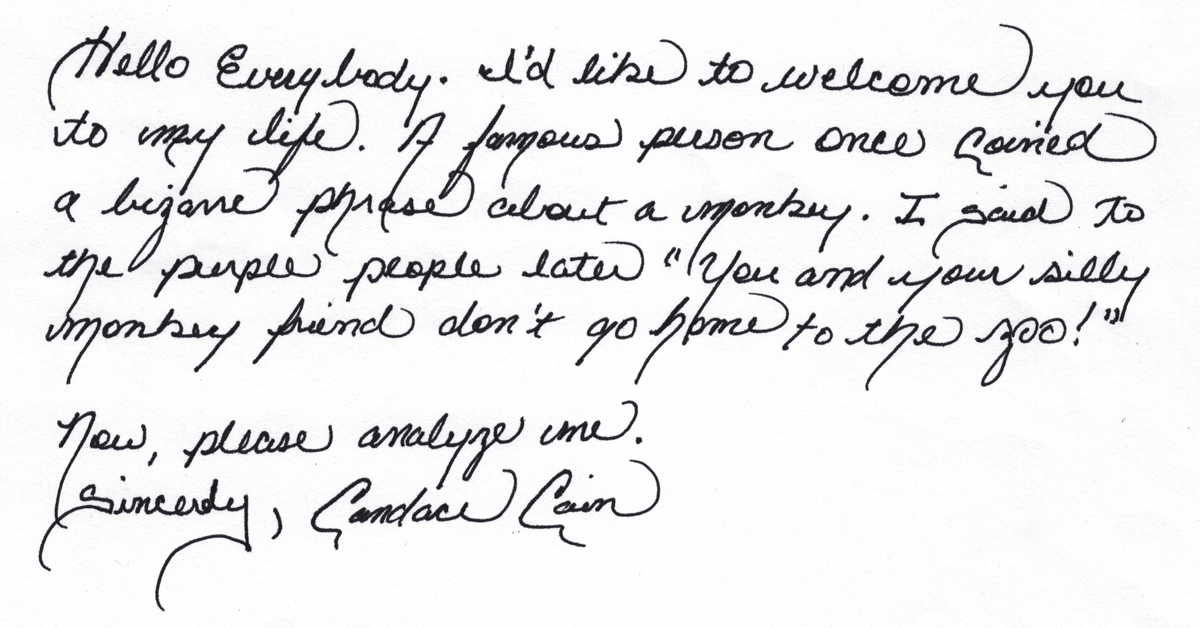 Candace Cain Cursive Handwriting Sample